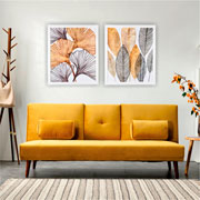 Quadro de madeira folhas verde/dourado I 65x55 cm