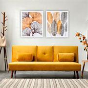 Quadro de madeira folhas verde/dourado II 65x55 cm