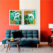 Quadro de madeira folhas verdes I 65x55 cm