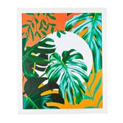Quadro de madeira folhas verdes II 65x55 cm