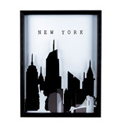 Quadro com vidro pintado Cidade 31x41 cm