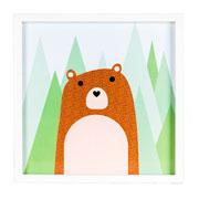 Quadro de madeira urso 32x32 cm