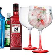Jogo de taças para gin gambo vermelha 705 ml 02 peças