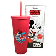 Copo de plastico com canudo minnie mouse 650 ml