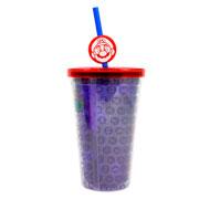 Copo de plástico com canudo mario 500 ml