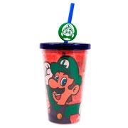 Copo de plástico com canudo Luigi 500 ml