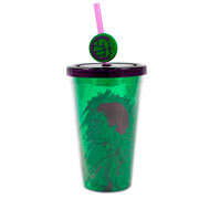 Copo de plástico com canudo hulk 500 ml