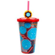 Copo com Canudo Iron Man 500 ml