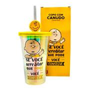 Copo de plástico com canudo Charlie 500 ml