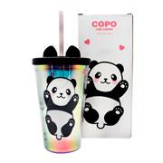 Copo de plástico com canudo panda 500 ml