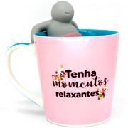 Caneca de cerâmica momentos com infusor de chá 350ml