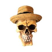 Caveira de resina com chapéu de palha 15 cm