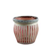 Castiçal de vidro Marrocan Listras rosa 7 cm