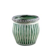 Castiçal de vidro Marrocan Listras verde 7 cm
