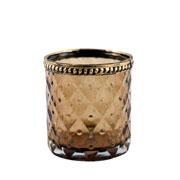 Castiçal de vidro Marrocan Pineaplle ambar 7,5 cm