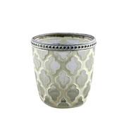 Castiçal de vidro Rococo Flower branco 7,5 cm
