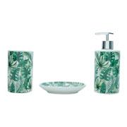 Jogo de banheiro em cerâmica Leaves verde 03 peças
