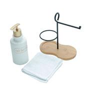Jogo de Banheiro com suporte e toalha Bath 03 peças