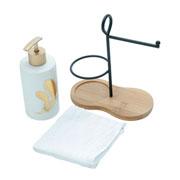 Jogo de Banheiro com suporte e toalha branca 03 peças