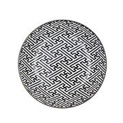 Prato de porcelana geek key preto e branco 20 cm