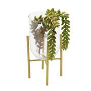 Vaso de vidro com suporte straight 21 cm