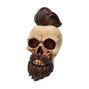 Enfeite de resina caveira hipster moustache 16 cm