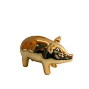 Cofre de ceramica embossed wave dourado 12 cm