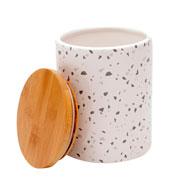 Potiche porcelana granilite branco 10x13 cm