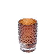 Castiçal de vidro diamond points âmbar 10 cm