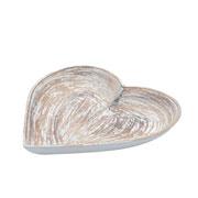 Bandeja de madeira heart shapped traces bege 16 cm