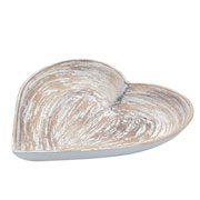 Bandeja de madeira heart shapped traces bege 25 cm