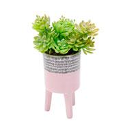 Vaso de cerâmica com pé rosa 12 cm