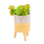 Vaso de cerâmica com pé amarelo 14 cm