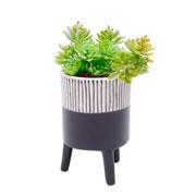Vaso de cerâmica com pé preto 14 cm
