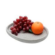 Centro de mesa em concreto oval diamond cinza 28x23 cm