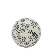 Enfeite bola em cerâmica flowers preta 05 cm