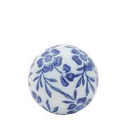 Enfeite bola em cerâmica flowers azul 05 cm