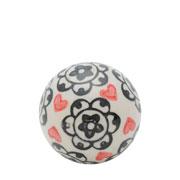 Enfeite bola em cerâmica flowers heart bege e preta 05 cm