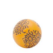 Enfeite bola em cerâmica stylized flower laranja 05 cm
