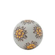 Enfeite bola em cerâmica daisy flower cinza e amarela 05 cm