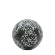 Enfeite Bola em cerâmica flowers trace preta 05 cm