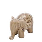 Enfeite elefante de cerâmica flowers cinza