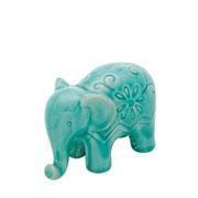 Enfeite elefante de cerâmica flowers verde