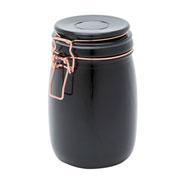 Pote de vidro hermético copper clip preto 950 ml