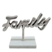 Escultura mármore e metal family prata 25x18 cm