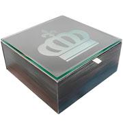 Caixa em MDF espelhada coroa prata 18x18cm