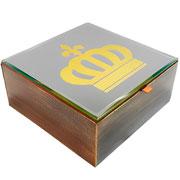 Caixa em MDF espelhada coroa dourada 18x18cm