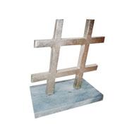 Escultura mármore e metal hashtag prata 18 cm