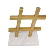 Escultura mármore e metal hashtag dourado 18 cm