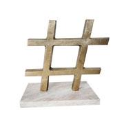 Escultura mármore e metal hashtag ouro velho 18 cm